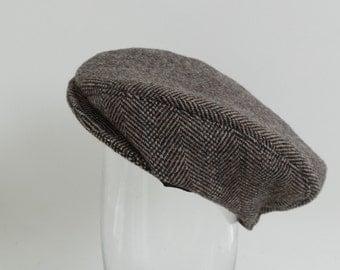 Childs newsboy cap, boys brown herringbone tweed cap, newborn wool cap, newsboy cap, baby hat, tweed cap, baby flat cap, kids newsboy hat