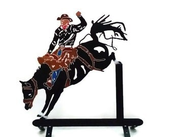 Metal mail box top, metal rodeo cowboy, Metal rodeo horse, Bucking horse, Metal bucking bronco, Metal art outdoors, Metal decor Fathers day
