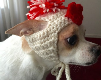 Valentine Heart Dog Hat, Crochet, Dog Clothes, Chihuahua, Pet Accessories
