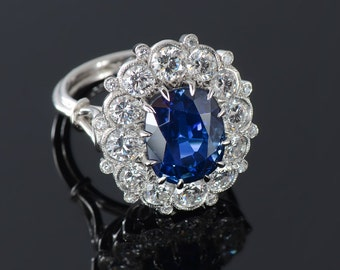 Platinum Sapphire & Diamond edwardian revival ring