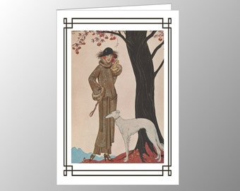 A handmade blank note card featuring an Art Deco fashion plate, 'Symphonie Automnale', by George Barbier