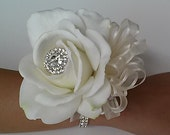 Real Touch Rose Wrist Corsage-White and Ivory Rose Corsage-Wedding Corsage-Prom Corsage-Homecoming Corsage