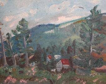 Vintage Oil Painting Mountain Landscape