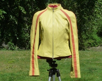 DANIER S 4 Very Very Soft Leather Lady's Zippered Jacket yellow & orange soft Danier Canada  Leathers small 4 usa leather zippered coat