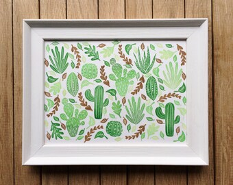 "Wall Art, Original Illustration, Stamped, ""Cactus Jungle"" Pattern."