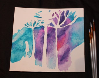 ORIGINAL Girl Looking At Trees Watercolour Painting