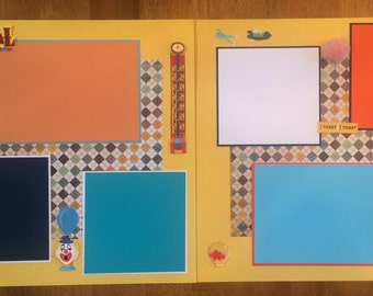 "2 Page 12x12 Premade Scrapbook Page Set-""Carnival"""