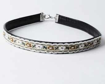 Reversible leather choker - floral