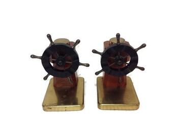 Mid century nautical bakelite brass and walnut bookends