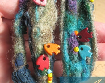 Nuno felt bracelet / wool bangle/sea and fishes/nice colors/unique gift