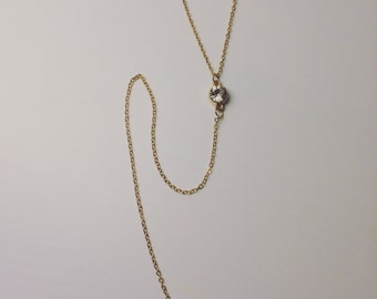 Gold Lariat Necklace with Crystal