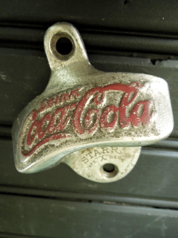 Vintage coca cola coke bottle opener metal wall mount starr - Antique coke bottle opener ...