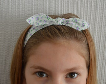 Fabric bow hair band. Bow headband. Girls hair accessory. Hair bows. Girls pretty floral hair band with elasticated back. Girls hairband.