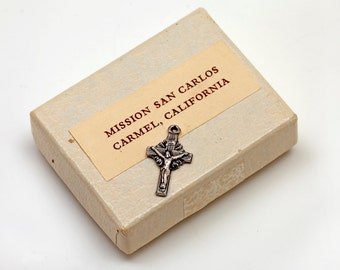 MINIATURE Silver Tone CROSS from MISSION San Carlos in Carmel, California - Includes Box