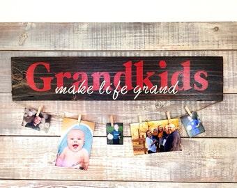 Grandkids MAKE LIFE GRAND hand painted sign/photo display