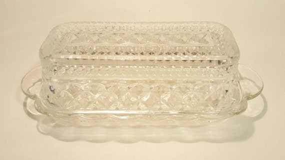 Clear Cut Glass Butter Dish