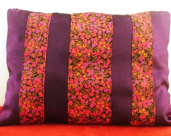 Cushion Deco satin fabric with highlights and liberty of london