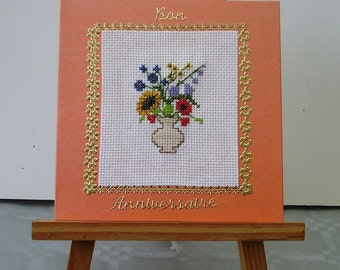 Embroidered card good birthday Bouquet of flowers