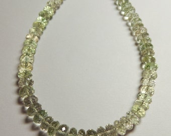 Exclusive Fine Quality Natural Green Amethyst 6-7 MM Faceted Rondelle Beads 12 Inch Strand