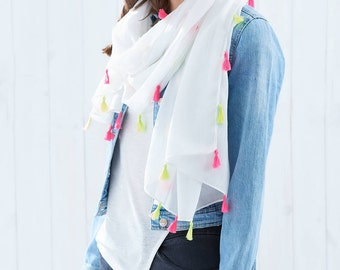 Personalised Neon and Tassel Scarf. Personalized summer scarf. Personalized Scarf. White Cotton Mix Scarf. Neon Scarf.