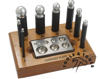 Complete 8- Piece Metal Forming Dapping Doming Punch and Block Set 5 mm - 27 mm