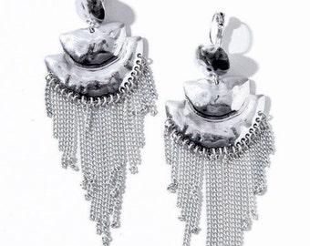 Cascade Fringe Chain Earrings Silver tone
