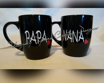 Nana and Papa Mug Set, Gifts for Grands, Oma and Opa Mug Set, New Grandparents Gift, Pregnancy Reveal, Black Coffee Mug, Personalized Gift