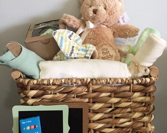 Baby Gift Basket -Organic with Handmade items