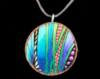 wooden necklace unique handmade art , wood with ink and colored pencil, original, hemp cord, colorful, hand crafted, rustic, modern,