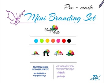 Funky Turtle Pre - Made Logo Branding Package, Marketing Kit, Turtle Logo Design, Rainbow Turtle Logo, Business Branding Board, OOAK Logo