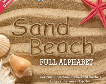 Sand Beach Full Alphabet - 79 PNG Files at 300 DPI - For Cardmaking, Scrapbooking and More