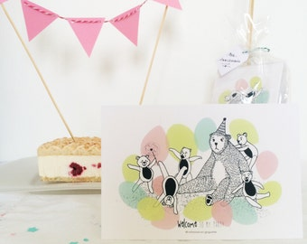 Invitation cards for kids' birthday - Batch selling - by 8 cards - Children - Bear - Balloons