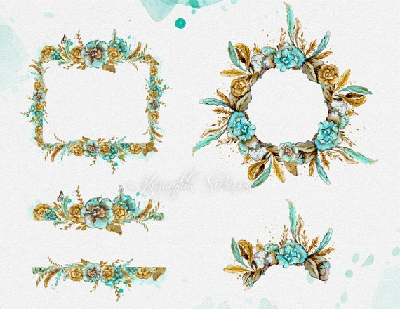 Watercolor Flowers Digital Clipart Boho Chic Wreath Mint