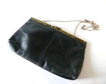 Vintage Expandable Etra Black Leather Bag with Gold Chain Strap