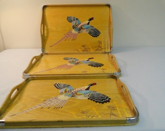 3 Piece Wooden Serving Tray Set With Hand Painted Pheasants On Them
