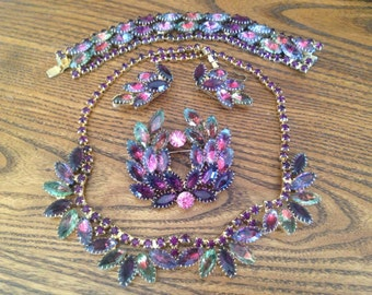 Price Reduced! Vintage Juliana? Watermelon Givre Rhinestone Grand Parure 0466