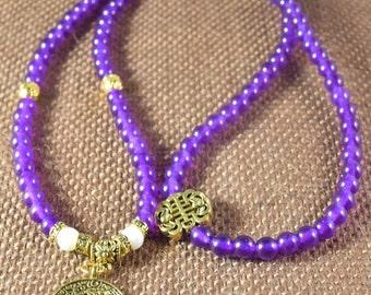 Purple Chalcedony /  108 Mala /  Yoga Gold Plated Charm /  Great Gift Idea /