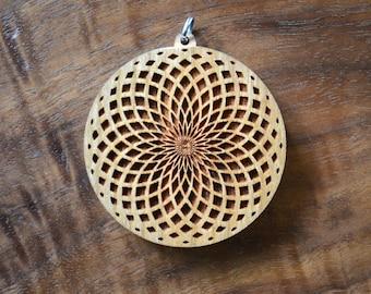 Tube Torus Fade Hardwood Pendant - Sacred Geometry Laser Cut Natural Wood LT10065