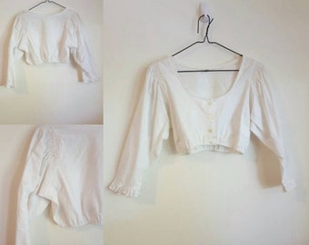 Vintage White Crop Top with Puffy Sleeves