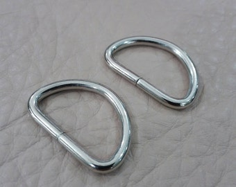 "10 Pcs, 1"" (2.5 cm.) (inner) Metal D Ring, Non Welded Nickel , for Webbing Strap, Handbag Hardware"