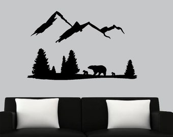 Bear Mountain Scene - Wall or Window Decal