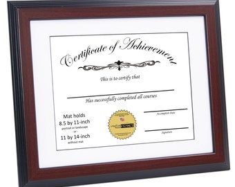 certificate frame mahogany displays 85 by 11 inch w mat or 11 by 14 inch graduation university diploma frames with stand wall hanger