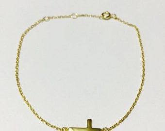 Cross Bracelet, Sideway Cross Bracelet, 925 Sterling Silver Sideway Smalll Cross Bracelet