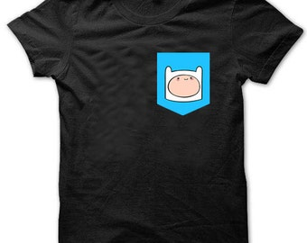 Adventure Time Finn The Human Print Pocket T-shirt Hipster Mens Womens Cute T1847 T1847