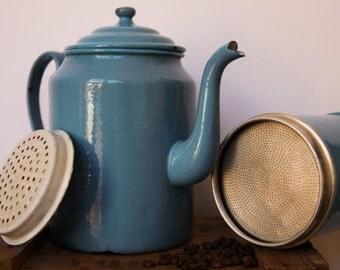 French Vintage Blue Enamelled Coffee Maker