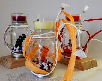 Meditation Candle, Feng Shui candle, Chakra candle, tealight candle holder, glass candle holder, relaxation candle, harmony candle, healing