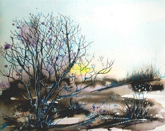 Landscape Painting ORIGINAL Watercolor Painting Watercolor Nature painting Watercolor Tree Painting Sunrise painting original art artwork