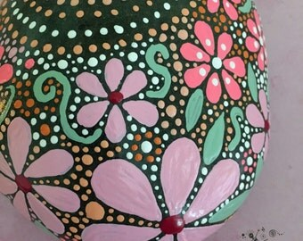 Rock Art, Hand Painted Rock, Painted Stone, Stone Art, Mandala Design, Floral Art, Natural Home Decor, Gift, pink persuasion collection #25