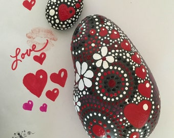 Rock Art, Painted Rock, Heart Motif, Mandala Design, Painted Stone,Paperweight, Free US Shipping, red touch collection #18