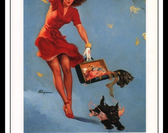 """Gil Elvgren Vintage Pinup Illustration """"Finders Keepers 1948"""" Sexy Pinup Mature Wall Art Deco 1995 Book Print 9 3/4"""" x 14"""""""